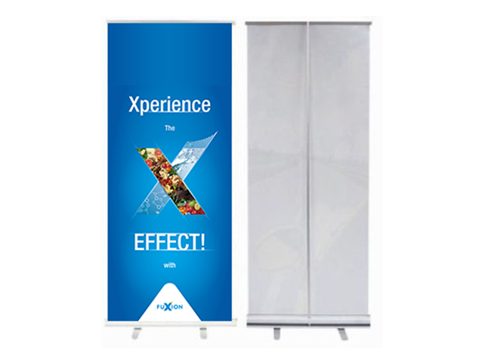 """33.5\"""" Economy Retractable Stand and vinyl banner with carry case"""